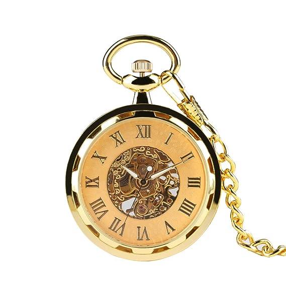Reloj de Bolsillo con Cubierta de Oro para Hombre, Relojes de Bolsillo para Novios, Delicado Reloj de Bolsillo Tallado para Hombre para Padre.