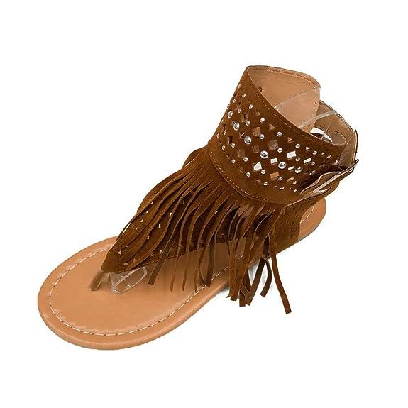 0cfcb7820 Amazon.com  Qisc Womens Suede Tassels Thong Flat Sandals Flip Flops Fringe  Shoes for Summer  Shoes