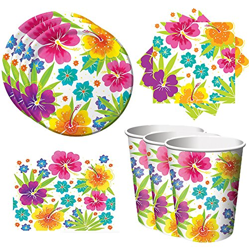 Tropical Luau Hawaiian Party Pack - Tableware includes Plates, Napkins, Cups, and a Tablecover (50) -