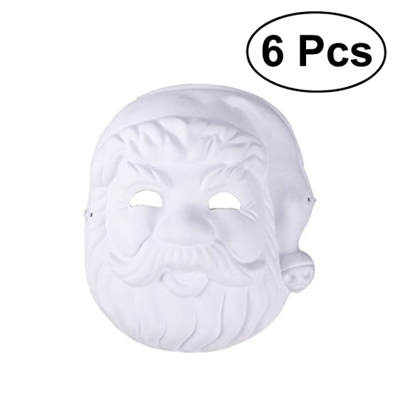 OULII Christmas Santa Painting Mask DIY Mask Full Face Costume Pulp Blank White Masks Pack 6pcs