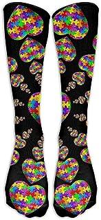 UFHRREEUR Autism Awareness Puzzle Heart Casual Unisex Sock Knee Long High Socks Sport Athletic Crew Socks One Size