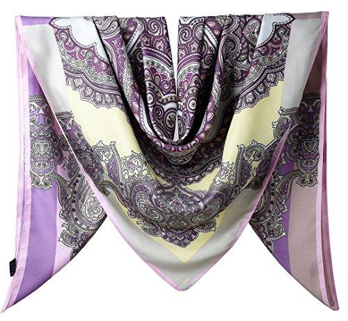 100% Silk Female Twill Square Scarf 40 Inches / Dark Lavender Totem (Lavender Silk Scarf)