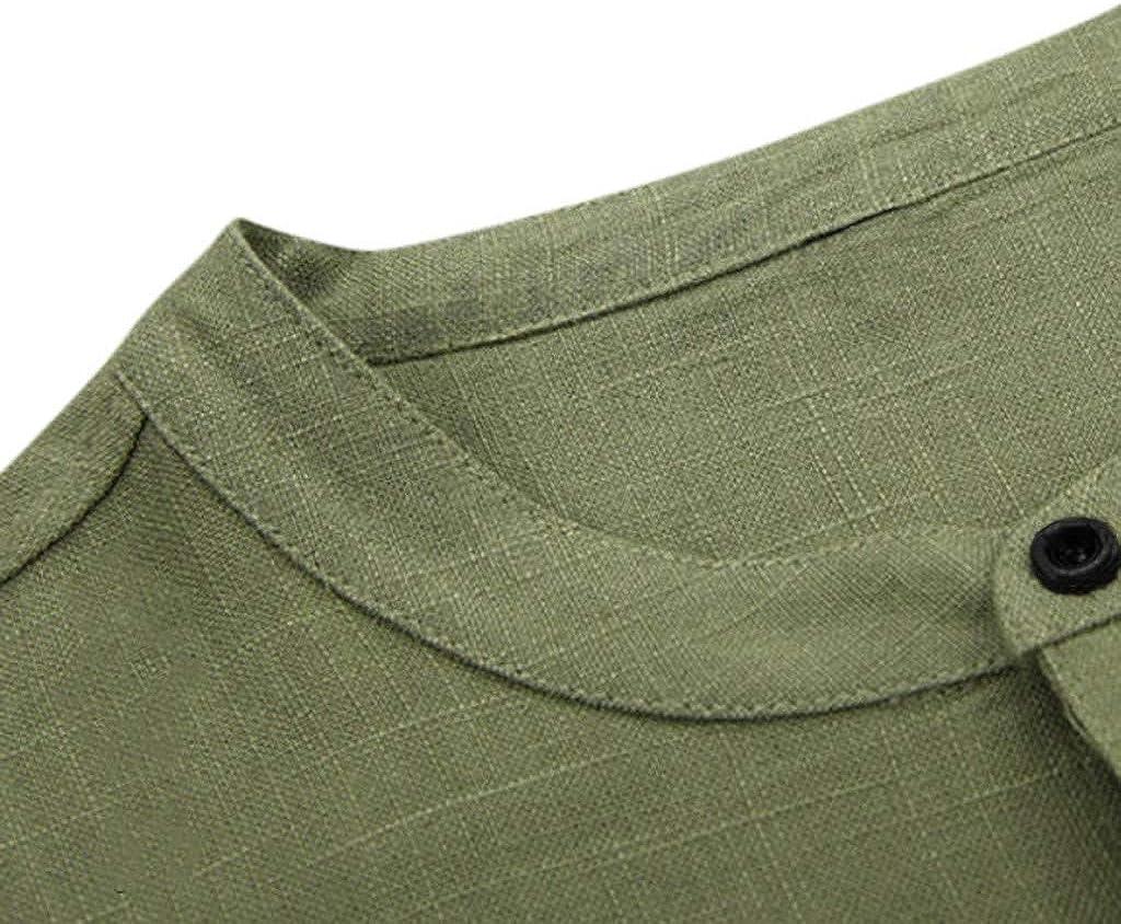 YAYUMI Short Sleeve,Mens Baggy Solid Color Cotton Linen Button Short Sleeve Retro T Shirts Belt Tops Blouse
