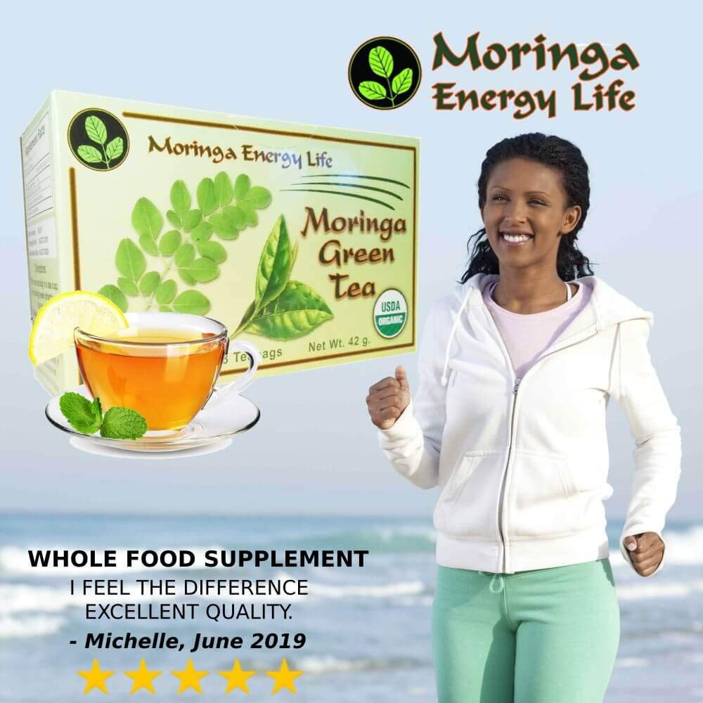 MORINGA GINGER LEMON TEA - USDA Organic - Nature´s Most Potent Botanical for Nutrients, Vitamins & Minerals