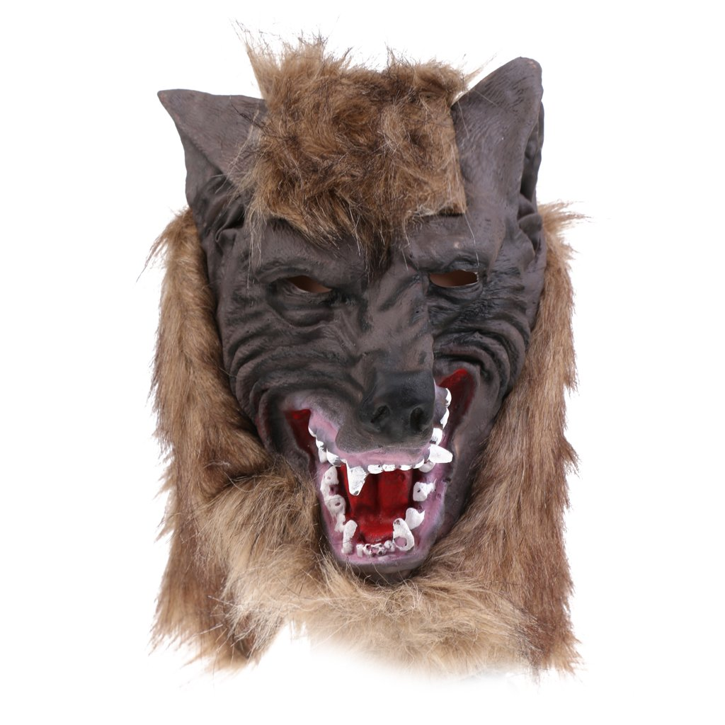 Jili Online Halloween Creepy Latex Full Head Overhead Animal Head Mask Howling Brown Wolf Masquerade Fancy Dress Costume Mask by Jili Online (Image #1)