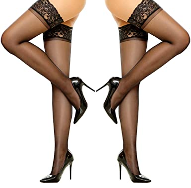 5e55c6a04a0 SUREPOCH 2 Pairs Thigh High Stocking Silicone Lace Top Sheer Pantyhose  Silky Tights (B