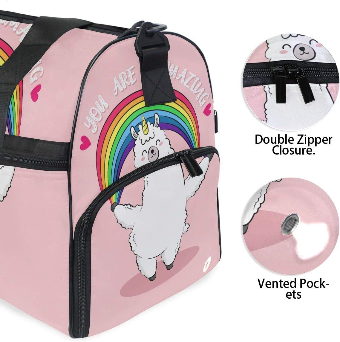 Travel Duffels Rainbow Llama Duffle Bag Luggage Sports Gym for Women /& Men