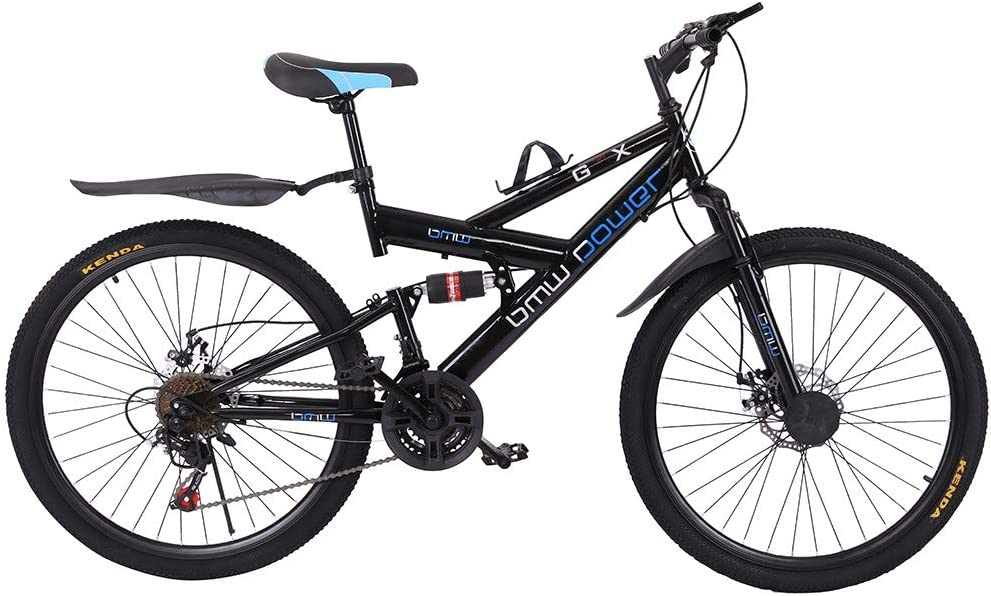 Ship from US High Carbon Steel Mountain Trail Bike 26 Inch Full Suspension Frame Bicycles Purpleflower Adult Mountain Bikes 21 Speed Gears Dual Disc Brakes Mountain Bicycle