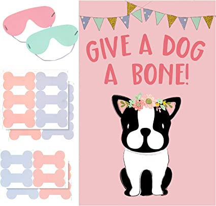 Amazon Com Aiex Dog Party Game Pin The Bone On Dog Party Favors Games For Kids Dog Theme Party Supplies Include Large Dog Theme Poster And 20 Pink Bone Stickers Toys Games