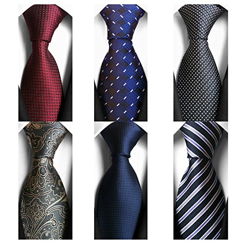 AVANTMEN 6 PCS Classic Men's Neckties Woven Jacquard Neck Ties Set (S9)