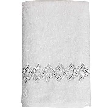 Toalla de ducha de 70 x 140 con bordado Vendome, blanco, 70 x 140: Amazon.es: Hogar