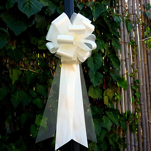 (Ivory Tulle Wedding Pew Pull Bows - 9