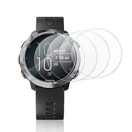 MWOOT 4 Unidades Protectores de Cristal Templado para Garmin Forerunner 645, LG Watch Style y ASUS Zenwatch 3, 9H Dureza Resistente a Arañazo ...