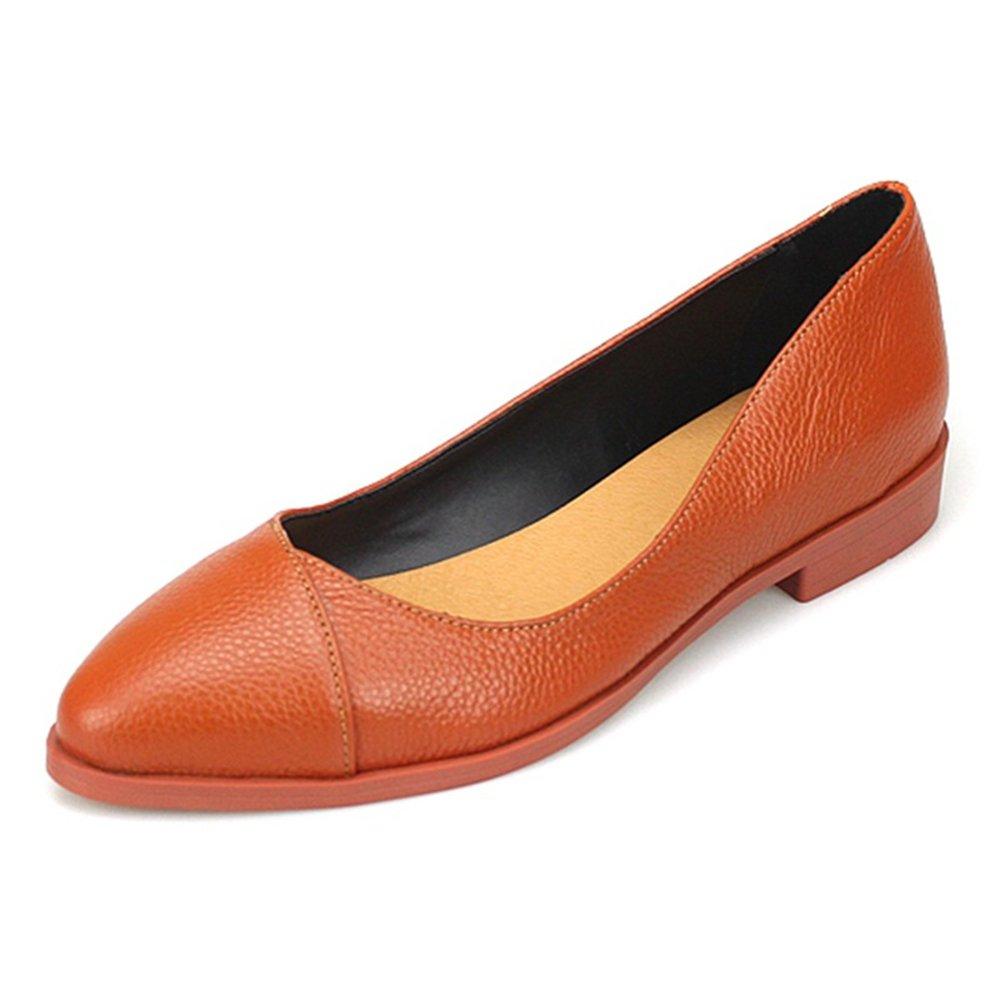 marron EUR36 UK4 Femmes ApparteHommest Chargeurs Noir Cuir Chaussures Glisser Sur Pompes Confort Pointu Fermé Doigt De Pied Marron Travail Bureau Décontractée Classis Taille 35-43