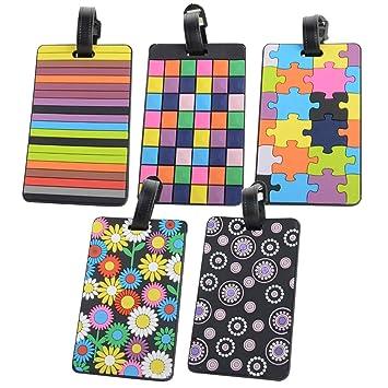 Lezed Etiqueta Maleta Viaje Color Etiqueta de Equipaje PVC Maleta Identifier para Prevenir la Pérdida de Equipaje (5 pcs): Amazon.es: Equipaje