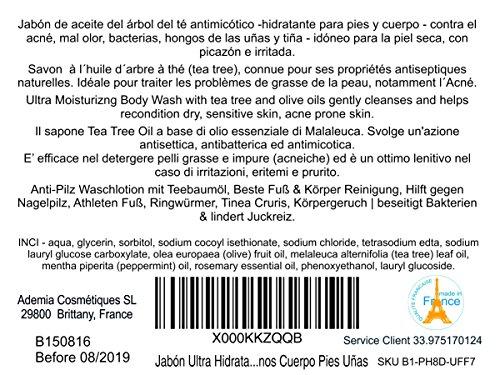 Gel desinfectante antibacteriano Jabón Ultra Hidratante Terapéutico con Aceite de Árbol de Té Purificante Anti hongos Anti Acné 500 ml - Gel de Baño - Gel de Ducha 4