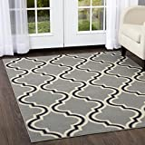 Home Dynamix Premium Alanya Area Rug   Modern Mediterranean Trellis Style   Soft and Smooth Texture   Silver-Black 5'2″ x 7'4″ Review