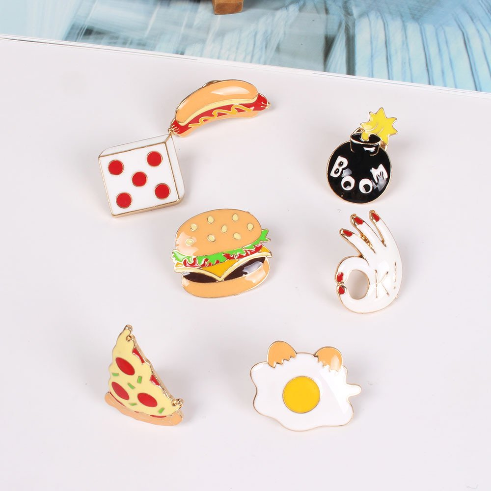 Onnea Enamel Brooch Pin Set Brooches Patches for Clothes/Bags/Backpacks (Fast food pin set) by Onnea fashion (Image #2)