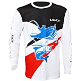 Lixada Long Sleeve Fishing Shirt UPF 50+ Sun Protection Fishing Clothing Quick Drying Breathable Loose Fit for Men