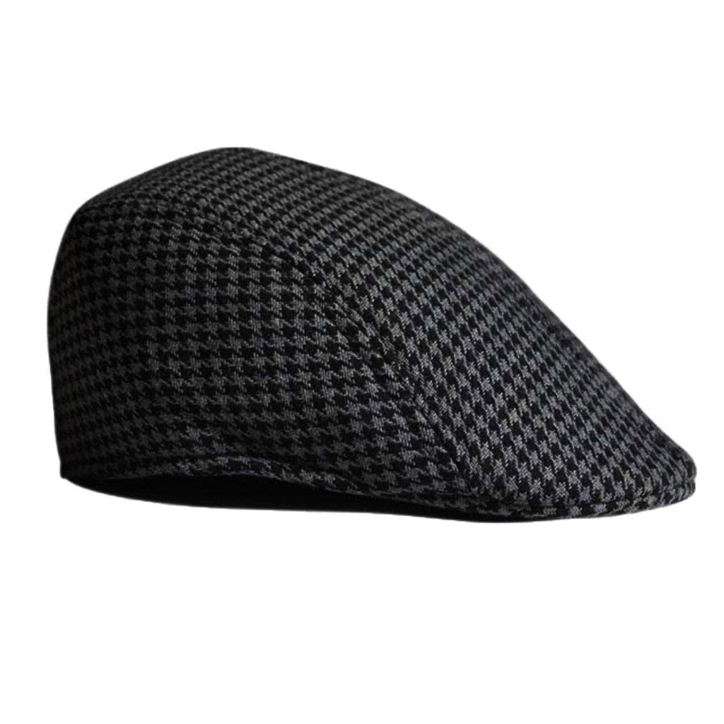 perfeclan Kids Classic Vintage Newsboy Driver Sun Cap Flat Beret Duckbill Hats for Boys Girls as described Black+Grey