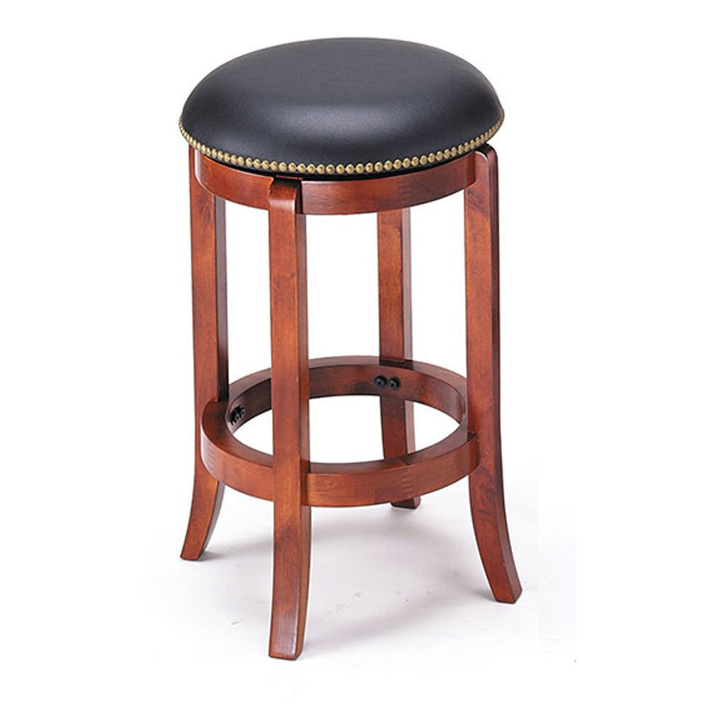 "1PerfectChoice Simple Relax Chelsea 24"" Round PU Swivel Counter Height Stool Barstool Oak Nailhead Trim Seat"