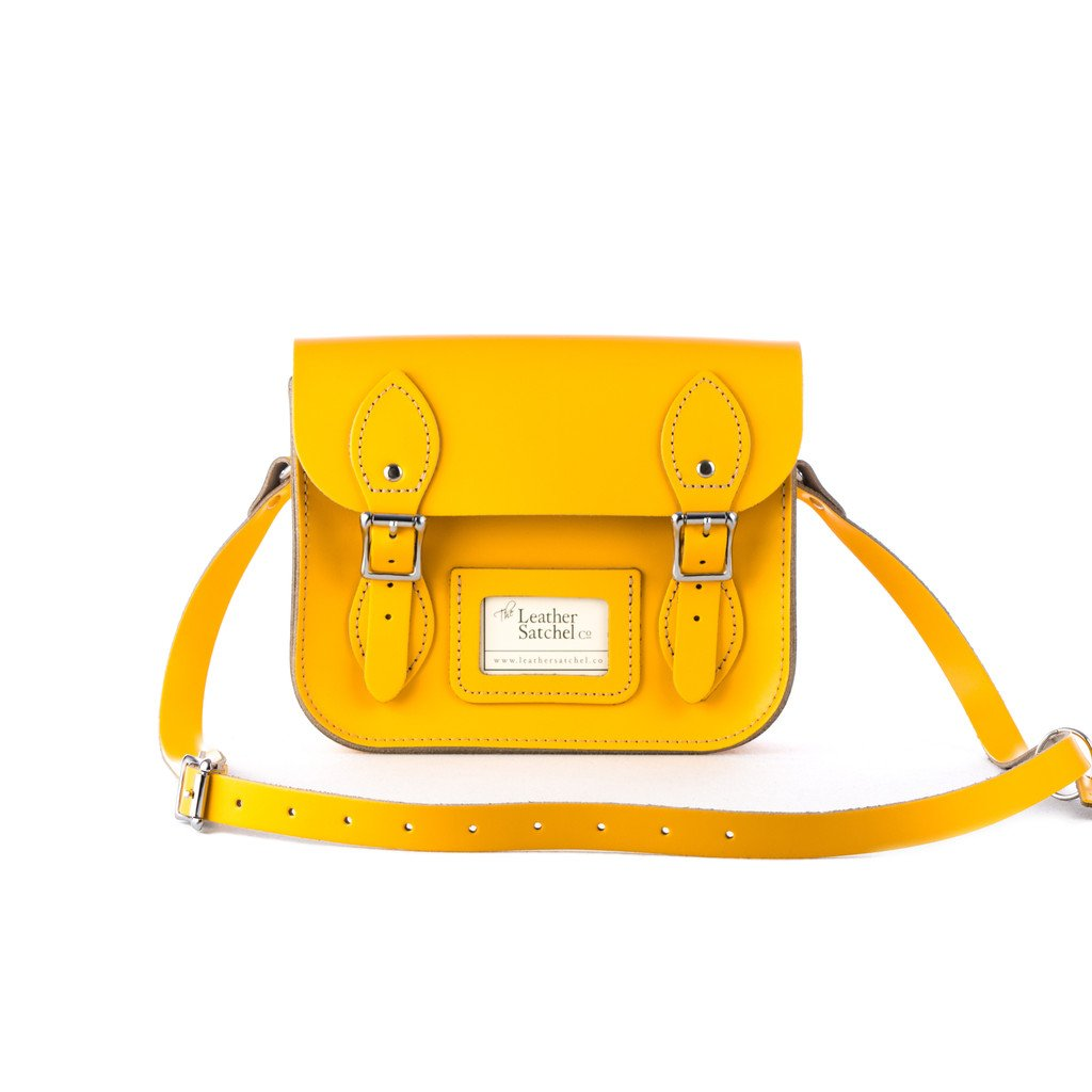 Genuine Leather Hand Made Mini Satchel Bag with Strap in Double Yellow