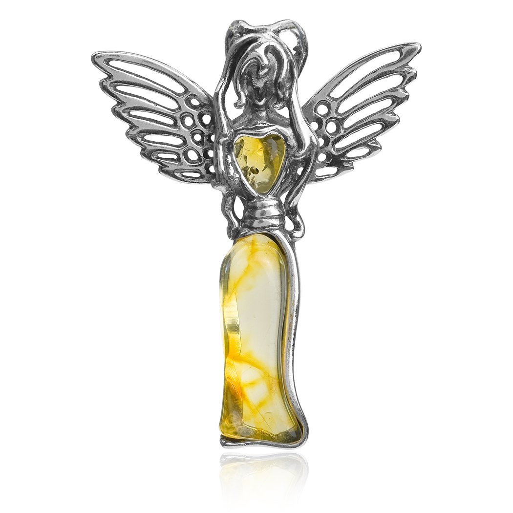 Amber Sterling Silver Heart Fairy Pendant Ian and Valeri Co