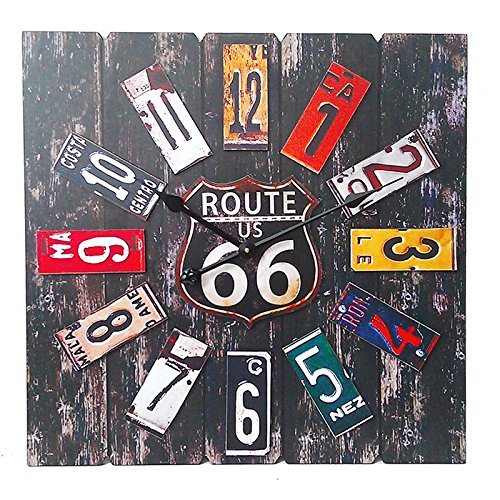 Essential Décor Entrada Collection Taiwan Movement Clock, 23.6 by 1.9 by (Route 66 Metal Clock)