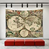 LBKT Ancient Old World Map Tapestry Wall Hanging Vintage Retro Antique Ancient Old World Map 1689 Wall Art Home Decoration Wall Tapestries for Bedroom Living Room Dorm Decor 90'x60'