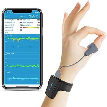 Sleep Oxygen Monitor w Vibration Alert for Sleep Apnea - Tracking Overnight Oxygen Saturation Level/Heart Rate w Finger Ring Sensor, Bluetooth Pulse Oximeter w App Report