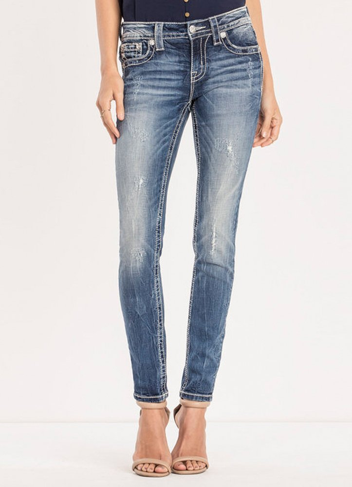 Miss Me Embossed Fluer De Lis Mid Rise Skinny Jeans Medium Wash M3105S (26)