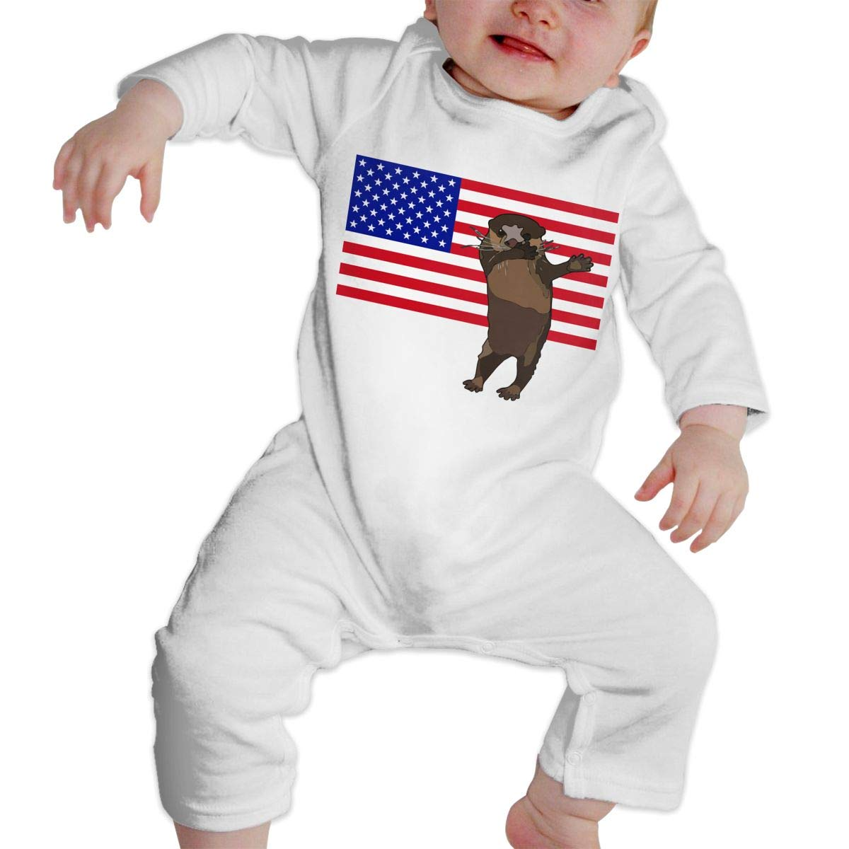 A1BY-5US Newborn Baby Boys Girls Cotton Long Sleeve Dabbing Sea Otter Romper Bodysuit One-Piece Romper Clothes