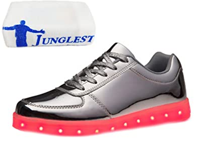 [Present:kleines Handtuch]Silber EU 45, Leuchtend Freizeitschuhe aufladen Laufschuhe Schuhe USB Mode Wechseln für Damen 7 Farbe weise Sneaker und LED-Licht Outdoorschuhe Spo