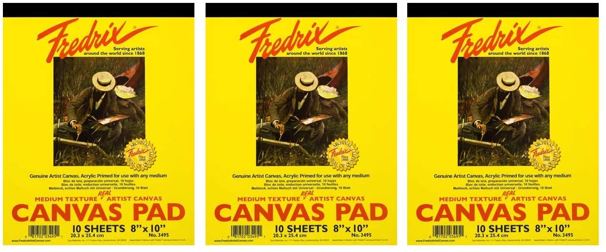Sturd Twо Pаck 8 x 10 Canvas Can be Mounted When Dry 10 Sheets per Pad Fredrix 3495 Canvas Pad Primed and Ready to Paint White