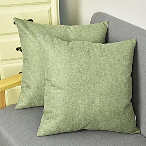 Natus Weaver outlet Decorative 18 X 18 Inch Linen Cloth Pillow Cover Cushion Case for Bench , Green , 2 - Sage Green Chenille