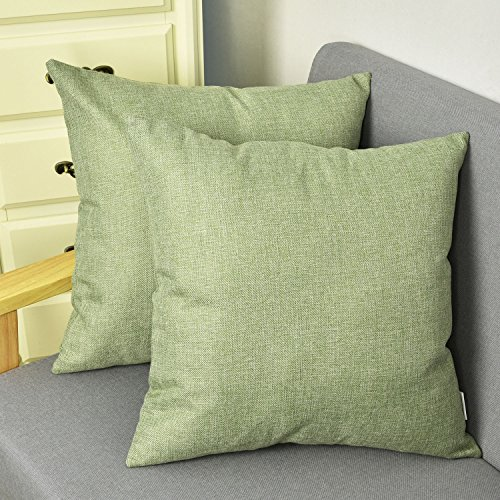 NATUS WEAVER Outlet Decorative 18 X 18 Inch Faux Linen Cloth Pillow Cover Cushion Case for Bench, Green, 2 Pieces