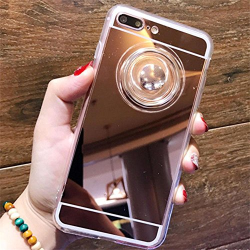 "Price comparison product image KOSBON Mirror Protective Cover Cases Phone Case with Fidget Finger Spinner for IPhone 7/7 Plus Iphone 6/6s/6Plus (Rose Gold, D:For iPhone 7 Plus 5.5"")"
