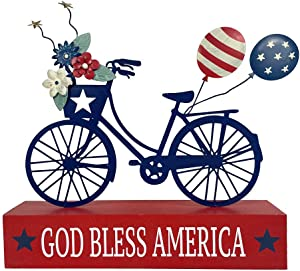 HOMirable Patriotic Decor American Flag Balloon Bicycle Box Sign Memorial Day Decoration Home Wood Sign 4th of July Farmhouse Block Independence Day Table Decor God Bless America