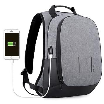 JSVER Mochila para portátiles laptop USB Mochila de seguridad Impermeable 15.6 pulgadas Mochila con Puerto de Carga USB mochilas escolares Bolsa de ...