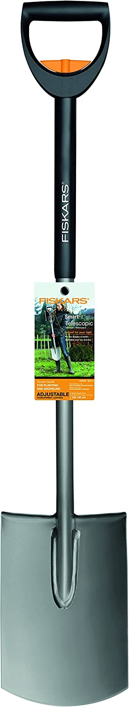 1000630 Fiskars Horca de jard/ín telesc/ópica para suelos duros 4 dientes Longitud: 105-125 cm SmartFit Negro//Plateado