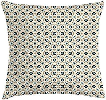 KAKICSA Retro Throw Pillow Cushion Cover, Circles and Dots ...