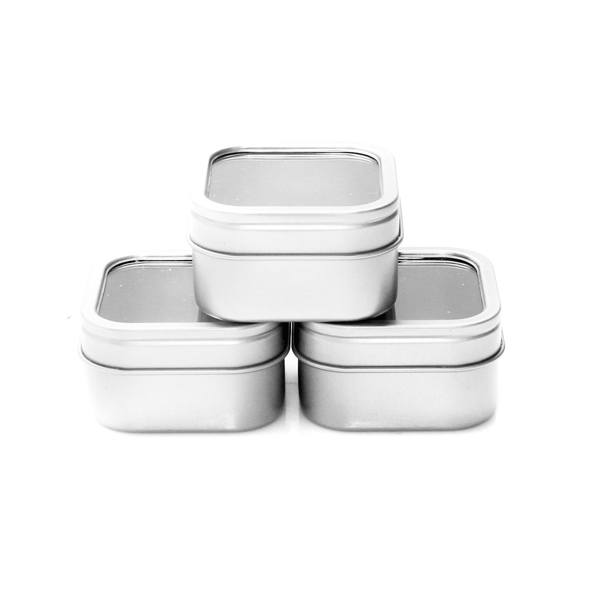 Mimi Pack 4 oz Square Tin Cans with Clear Window Slip Cover Lid for Favors, Spices, Storage, Candies, Mints, Candles and Crafts 24 Pack (Silver)