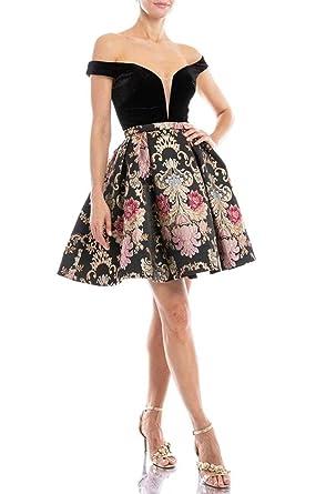 96f30d8db20e Terani Couture 1821H7797 Plunging Off Shoulder Gilt-Floral Dress in Black  Multi