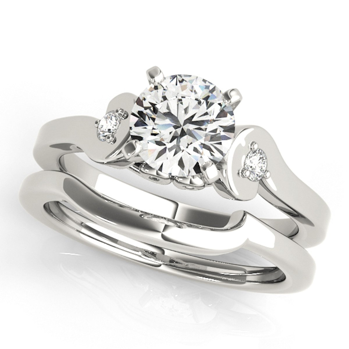 1/2 Ct. Diamond Engagement Bridal Ring Set 10K Solid White Gold