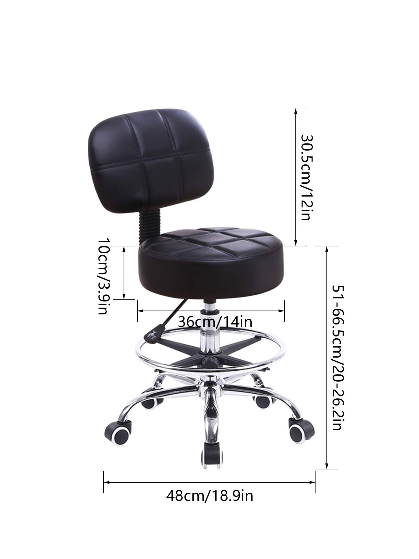 KKTONER Swivel Round Rolling Stool PU Leather with Adjustable Foot Rest, Height Adjustable Task Work Drafting Chair with Back (BLACK)
