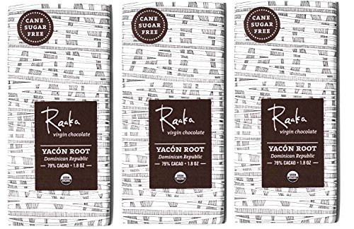 Raaka Chocolate Yacón Root Dark Chocolate 79% Cacao (Cane Sugar Free) (1.8oz Bar - 3 Pack), Organic, Non-GMO, Kosher Premium Craft Bittersweet Chocolate, Bean-to-bar, Gluten and Soy Free Chocolate (Why Do We Crave Sweets)