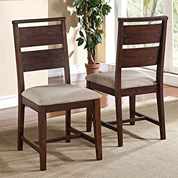 Modus Furniture 7Z4866 Portland Solid Wood Dining Chair, Walnut, 2 Pack
