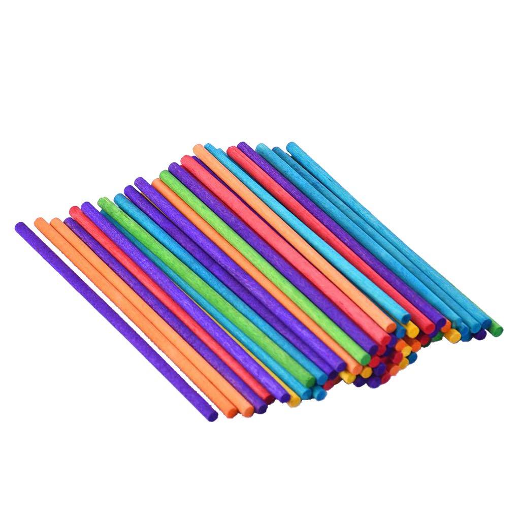 P Prettyia Bastoncini di Gelato di Legno Colorati Art Lollipop Barrette di Gelato Colorati 3.8x114mm
