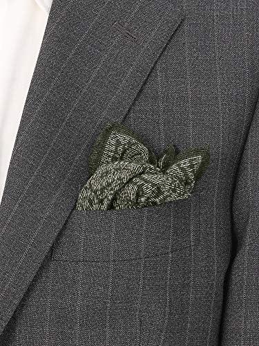 MADE IN ITALY/ペイズリープリント ウールポケットチーフ グリーン×ホワイト