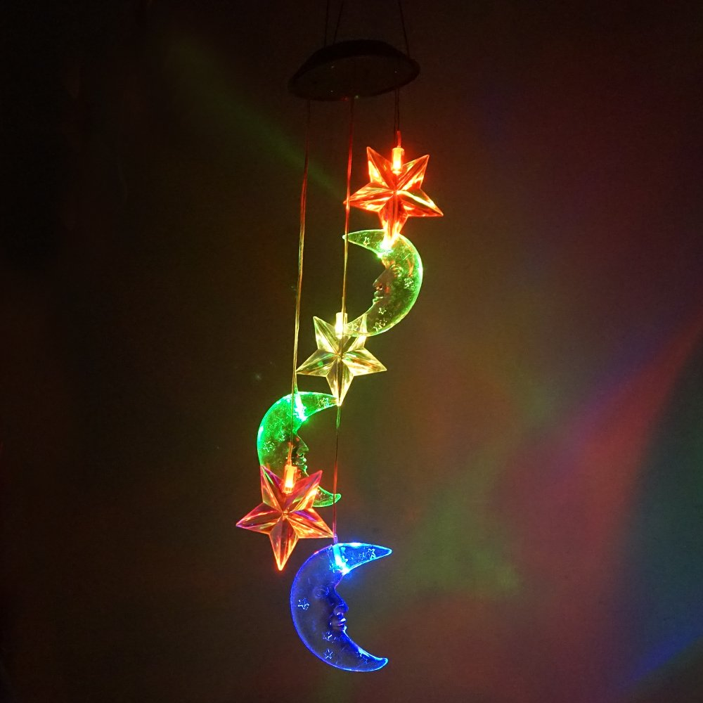 Moon & Star LED Solar Wind Chime Nigh Light, Colors Changing,